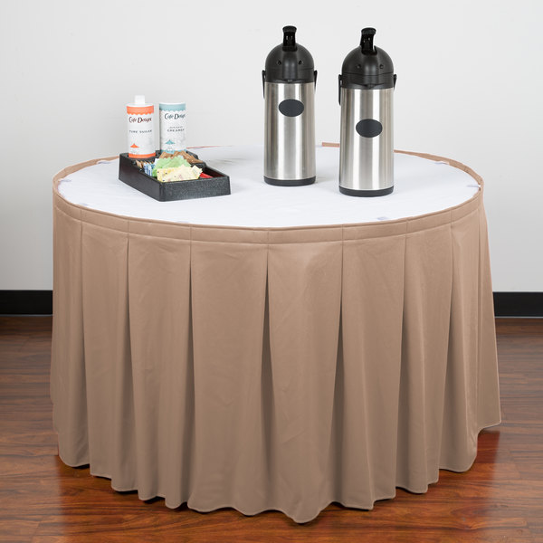 """Snap Drape WYN5V1329-SBL Wyndham 13' x 29"""" Sable Continuous Pleat Table Skirt with Velcro® Clips"""