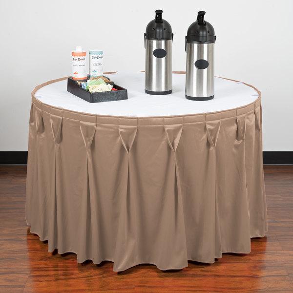 "Snap Drape WYN6V1329-SBL Wyndham 13' x 29"" Sable Bow Tie Pleat Table Skirt with Velcro® Clips"