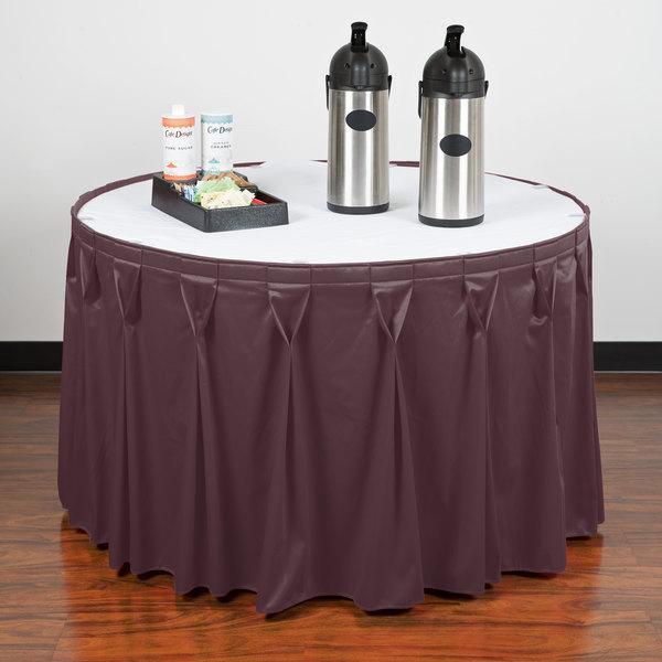 "Snap Drape WYN6V1329-VIO Wyndham 13' x 29"" Violet Bow Tie Pleat Table Skirt with Velcro® Clips"