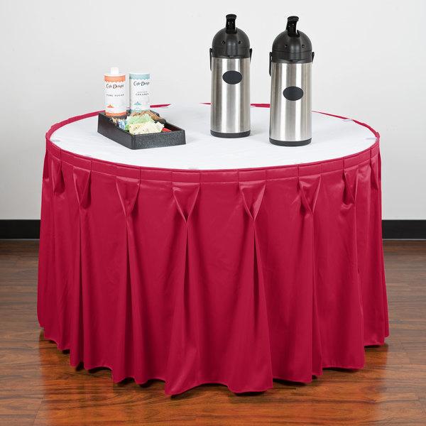 """Snap Drape WYN6V1329-RASP Wyndham 13' x 29"""" Raspberry Bow Tie Pleat Table Skirt with Velcro® Clips"""