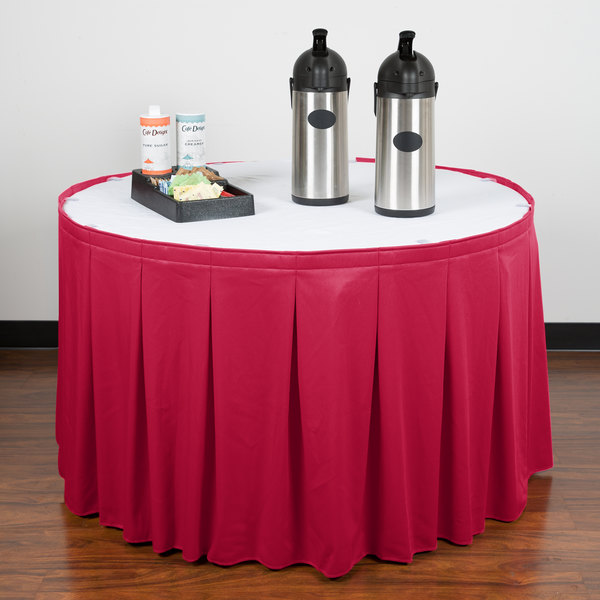 """Snap Drape WYN5V1329-RASP Wyndham 13' x 29"""" Raspberry Continuous Pleat Table Skirt with Velcro® Clips"""