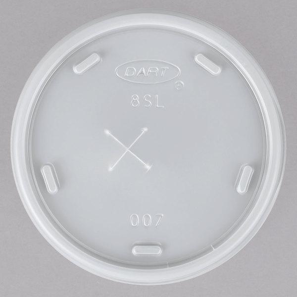 Dart 8SL Translucent Lid with Straw Slot - 1000/Case