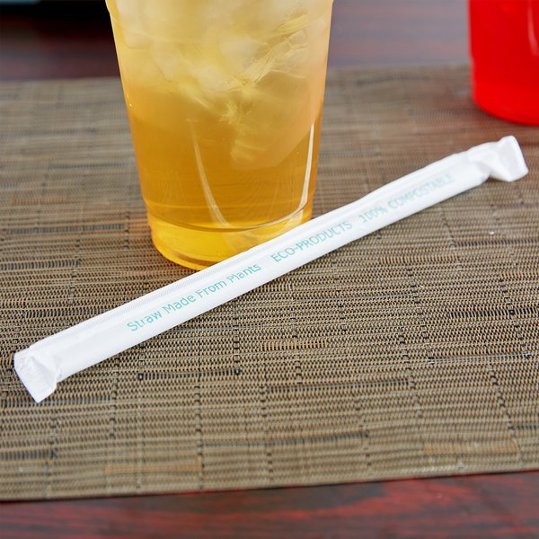 "Eco Products EP-ST780 7 3/4"" Clear Wrapped Compostable Plastic Cold Drink Straw - 300/Pack"