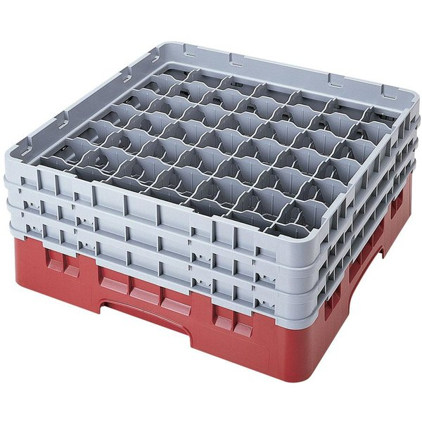 "Cambro 49S958416 Cranberry Camrack Customizable 49 Compartment 10 1/8"" Glass Rack"