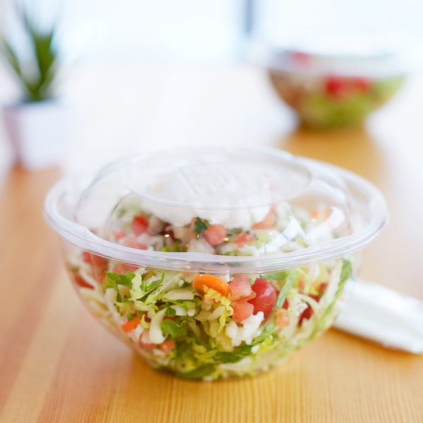 Eco Products EP-SB24 24 oz. Clear Compostable Plastic Salad Bowl with Lid - 50/Pack