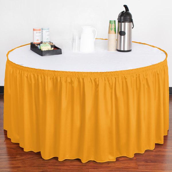"Snap Drape WYN1V17629-TOP Wyndham 17' 6"" x 29"" Topaz Shirred Pleat Table Skirt with Velcro® Clips"