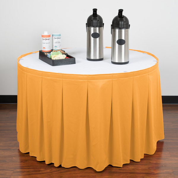 """Snap Drape WYN5V1329-TOP Wyndham 13' x 29"""" Topaz Continuous Pleat Table Skirt with Velcro® Clips"""
