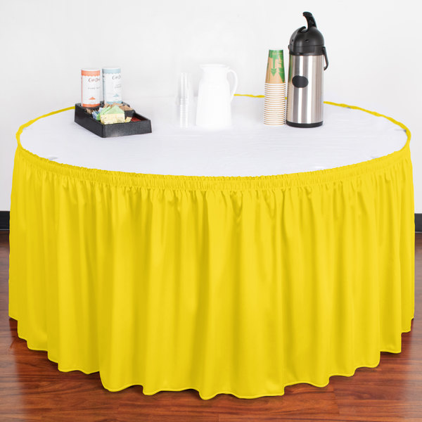 "Snap Drape WYN1V17629-SUN Wyndham 17' 6"" x 29"" Sunflower Shirred Pleat Table Skirt with Velcro® Clips"