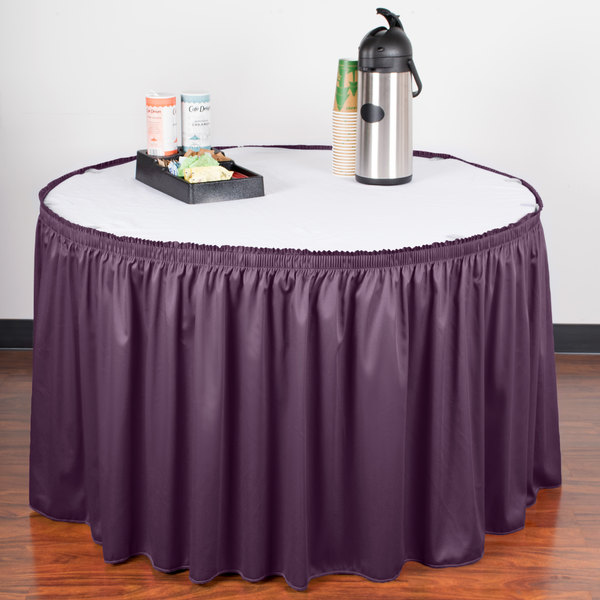 "Snap Drape WYN1V1329-PURP Wyndham 13' x 29"" Purple Shirred Pleat Table Skirt with Velcro® Clips"