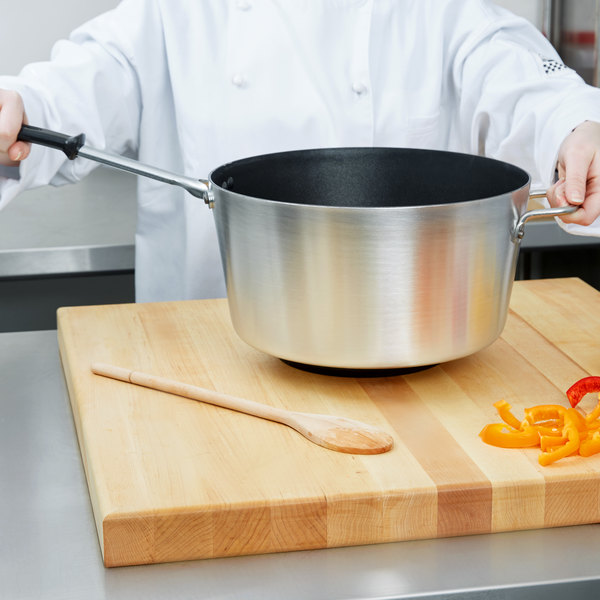 Vollrath 69310 Wear-Ever 10 Qt. Tapered Sauce Pan with SteelCoat x3 Non-Stick Interior and TriVent Silicone Handle