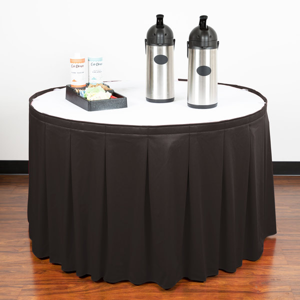 """Snap Drape WYN5V1329-CHAR Wyndham 13' x 29"""" Charcoal Continuous Pleat Table Skirt with Velcro® Clips"""