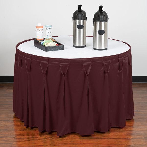 "Snap Drape WYN6V1329-PLUM Wyndham 13' x 29"" Plum Bow Tie Pleat Table Skirt with Velcro® Clips"