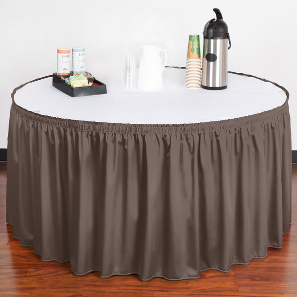 """Snap Drape WYN1V17629-GRY Wyndham 17' 6"""" x 29"""" Gray Shirred Pleat Table Skirt with Velcro® Clips"""