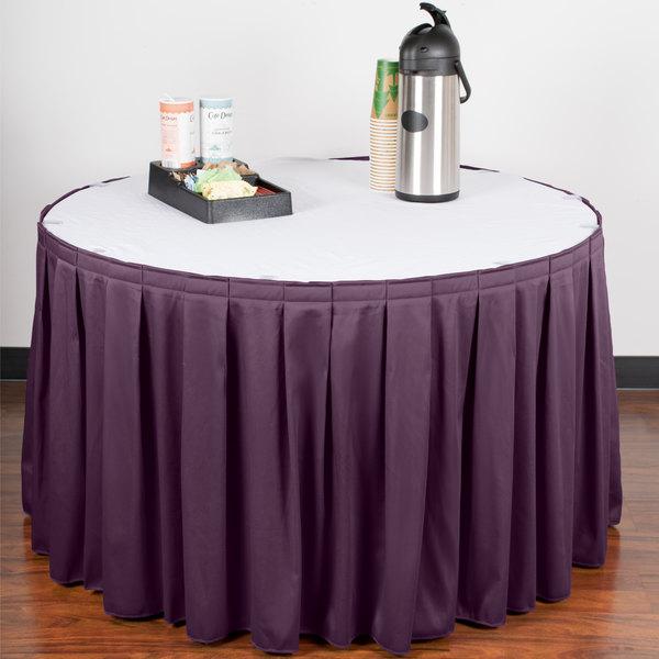 "Snap Drape WYN3V1329-PURP Wyndham 13' x 29"" Purple Box Pleat Table Skirt with Velcro® Clips"