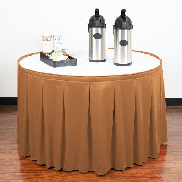 "Snap Drape WYN5V1329-BTTR Wyndham 13' x 29"" Butterscotch Continuous Pleat Table Skirt with Velcro® Clips"
