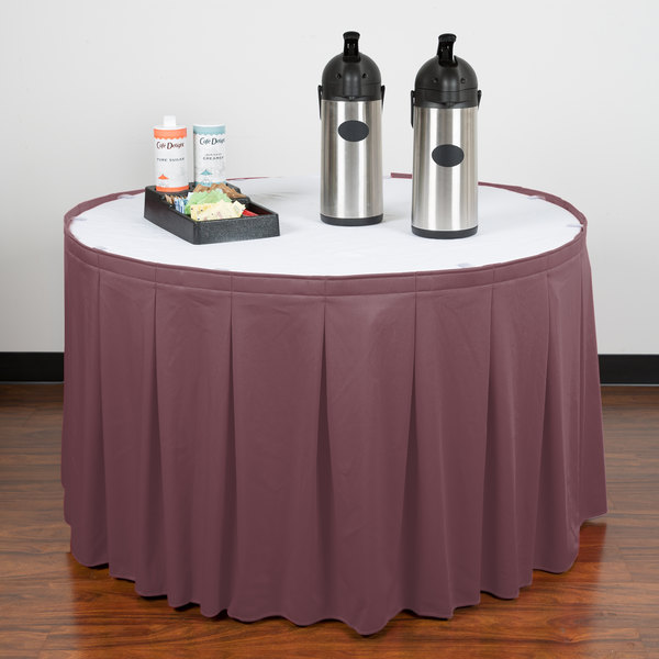"""Snap Drape WYN5V1329-VIO Wyndham 13' x 29"""" Violet Continuous Pleat Table Skirt with Velcro® Clips"""