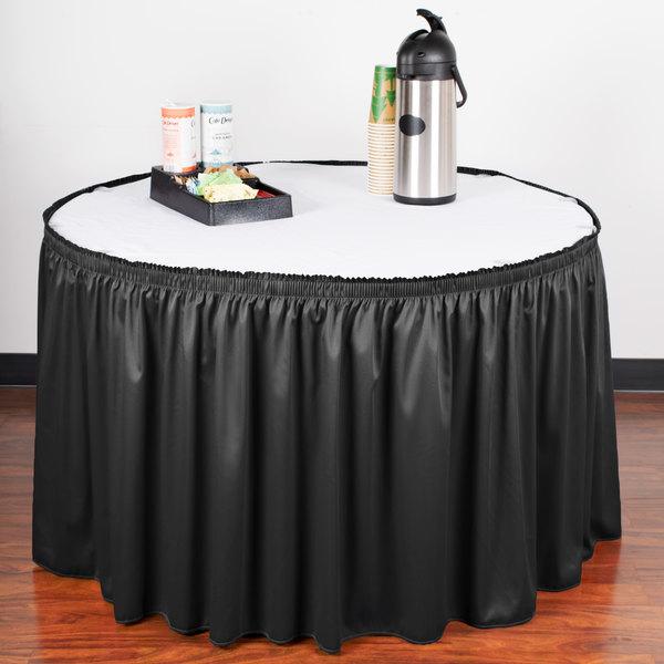 "Snap Drape WYN1V1329-BLK Wyndham 13' x 29"" Black Shirred Pleat Table Skirt with Velcro® Clips"