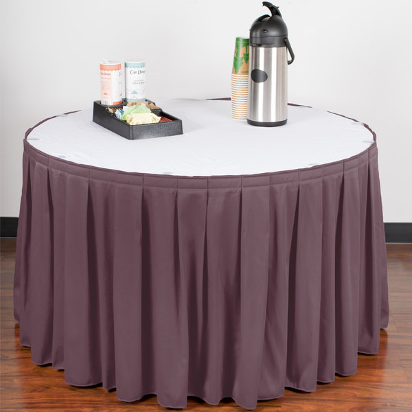 "Snap Drape WYN3V1329-VIO Wyndham 13' x 29"" Violet Box Pleat Table Skirt with Velcro® Clips"