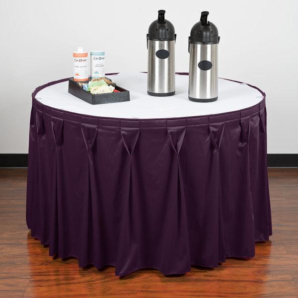 "Snap Drape WYN6V1329-PURP Wyndham 13' x 29"" Purple Bow Tie Pleat Table Skirt with Velcro® Clips"