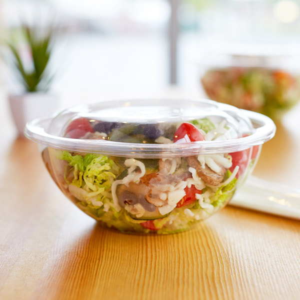 Perfect Eco Products EP-SB32 32 oz. Clear Compostable Plastic Salad Bowl  VP62
