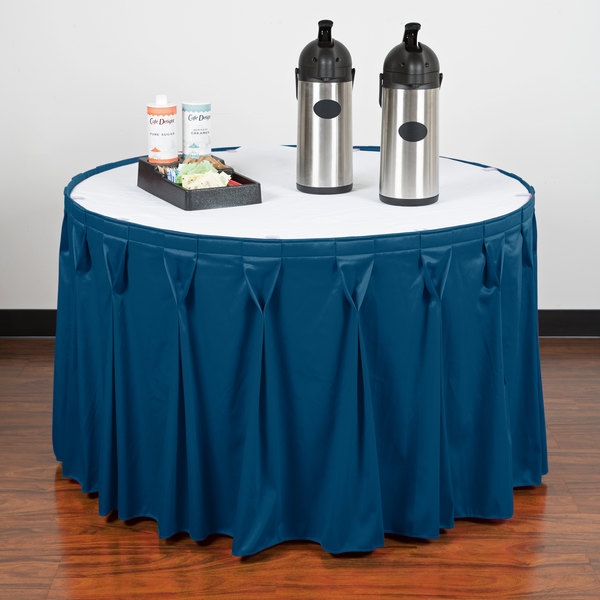 "Snap Drape 5412CE29W3-710 Wyndham 13' x 29"" Blueberry Bow Tie Pleat Table Skirt with Velcro® Clips Main Image 7"