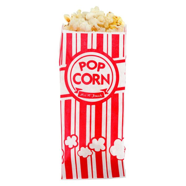 "Carnival King 3 1/2"" x 2 1/4"" x 8 1/4"" 1 oz. Popcorn Bag - 100/Pack"