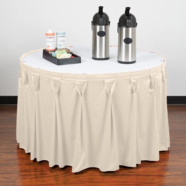 "Snap Drape WYN6V1329-CRM Wyndham 13' x 29"" Cream Bow Tie Pleat Table Skirt with Velcro® Clips"