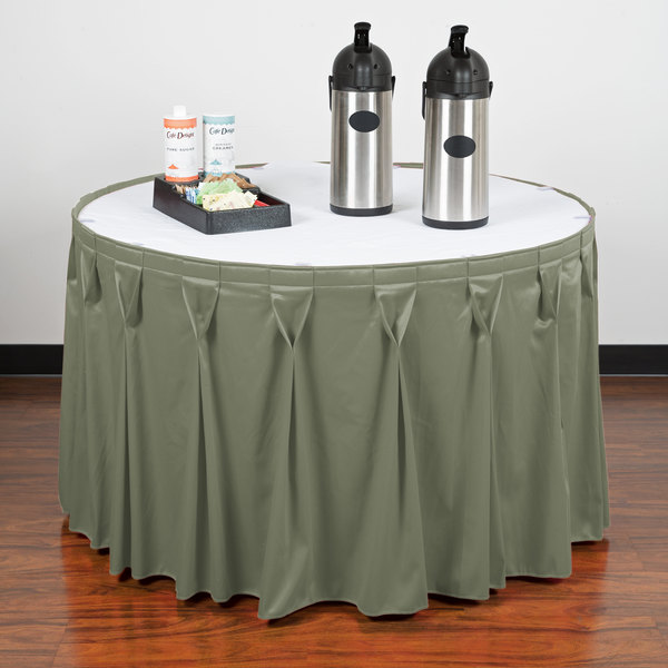 "Snap Drape WYN6V1329-EUC Wyndham 13' x 29"" Eucalyptus Bow Tie Pleat Table Skirt with Velcro® Clips"