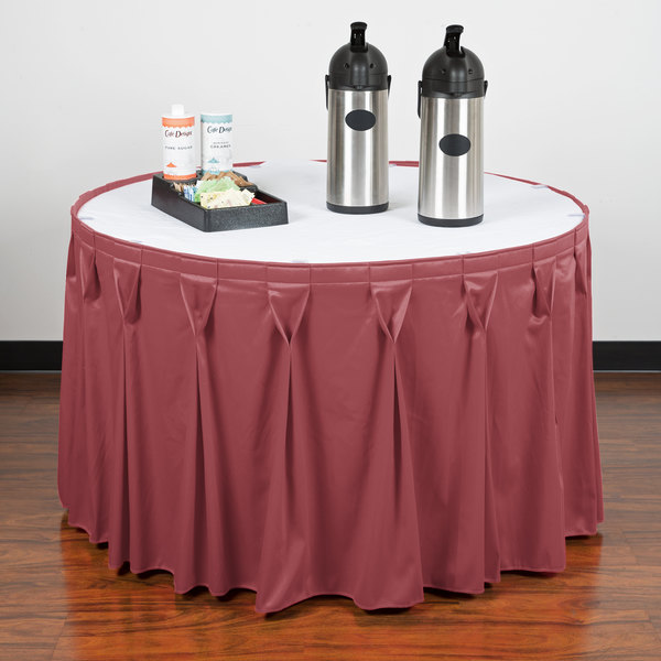"""Snap Drape WYN6V1329-ROS Wyndham 13' x 29"""" Rosewood Bow Tie Pleat Table Skirt with Velcro® Clips"""