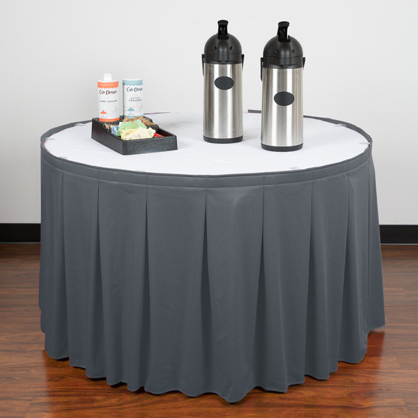 """Snap Drape WYN5V1329-SLTB Wyndham 13' x 29"""" Slate Blue Continuous Pleat Table Skirt with Velcro® Clips"""