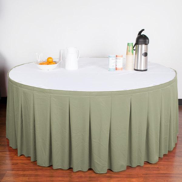"Snap Drape WYN5V21629-EUC Wyndham 21' 6"" x 29"" Eucalyptus Continuous Pleat Table Skirt with Velcro® Clips"