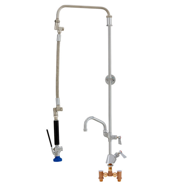 """Fisher 30872 Deck Mounted Ultra Flex Pre-Rinse Faucet with Temperature Control Valve, Swivel Arm, 16"""" Add-On Faucet, and Wall Bracket"""
