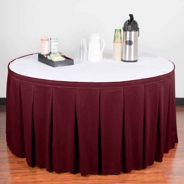 """Snap Drape WYN5V17629-BURG Wyndham 17' 6"""" x 29"""" Burgundy Continuous Pleat Table Skirt with Velcro® Clips"""