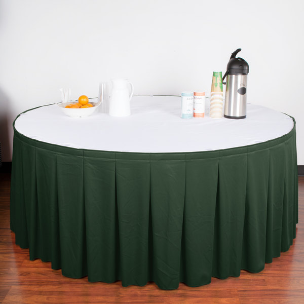 "Snap Drape WYN5V21629-JDE Wyndham 21' 6"" x 29"" Jade Continuous Pleat Table Skirt with Velcro® Clips"
