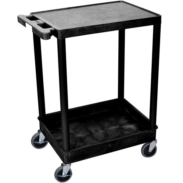 Luxor STC21-B Black Two Shelf Utility Cart