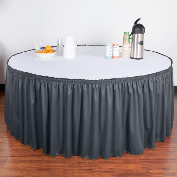 "Snap Drape WYN1V21629-SLTB Wyndham 21' 6"" x 29"" Slate Blue Shirred Pleat Table Skirt with Velcro® Clips"