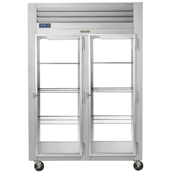 Traulsen G21017P 2 Section Glass Door Pass-Through Refrigerator - Right / Right Hinged Doors Main Image 1