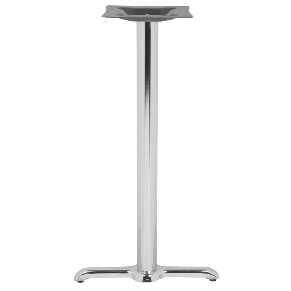 "BFM Seating STB-0022CHBP 22"" x 5"" Chrome Stamped Steel Indoor Standard Height Side Table Base, 3"" Column"