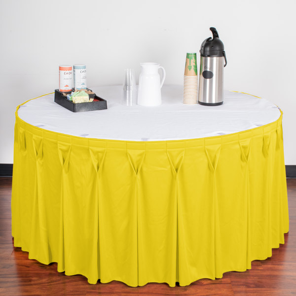 "Snap Drape WYN6V17629-SUN Wyndham 17' 6"" x 29"" Sunflower Bow Tie Pleat Table Skirt with Velcro® Clips"