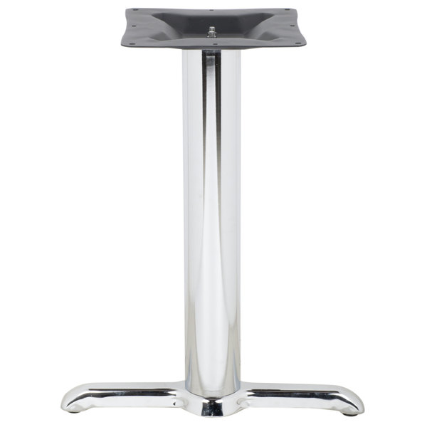"""BFM Seating STB-00224CHTBP 22"""" x 5"""" Chrome Stamped Steel Indoor Bar Height End Table Base, 4"""" Column Main Image 1"""