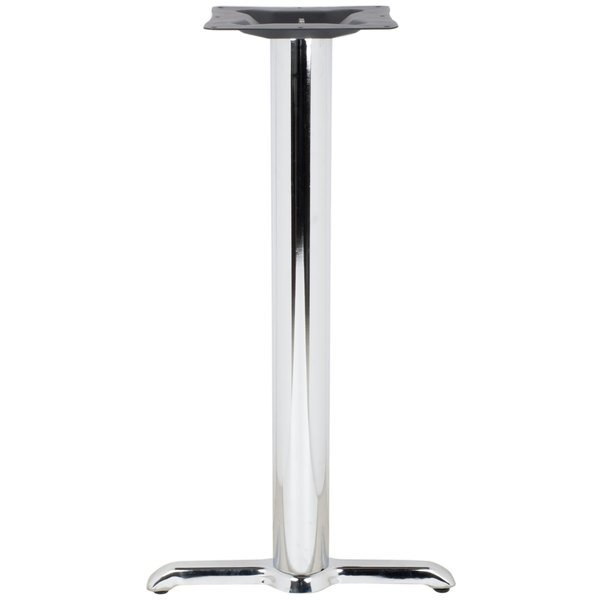 "BFM Seating STB-0022CHTBP 22"" x 5"" Chrome Stamped Steel Indoor Bar Height End Table Base, 3"" Column Main Image 1"