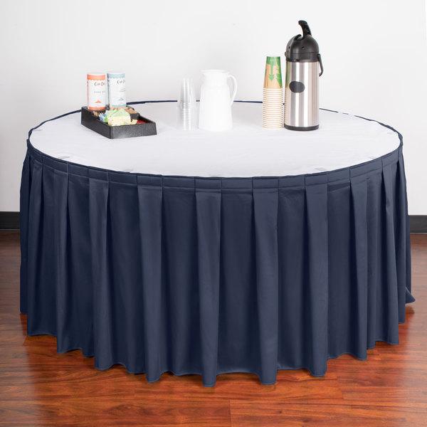 "Snap Drape WYN3V17629-NAVY Wyndham 17' 6"" x 29"" Navy Blue Box Pleat Table Skirt with Velcro® Clips"
