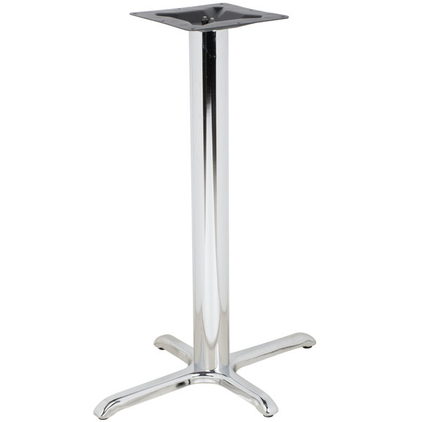 "BFM Seating STB-24304CHTBP 30"" x 24"" Chrome Stamped Steel Indoor Bar Height Cross Table Base, 4"" Column"