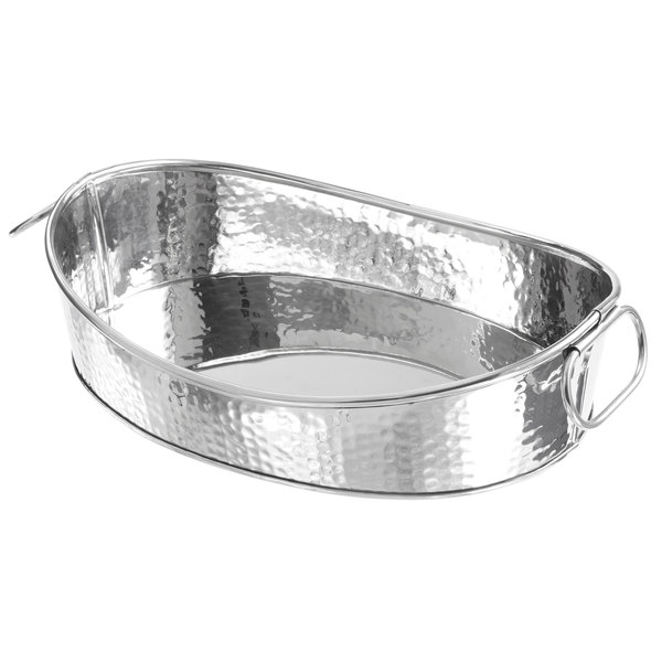 American Metalcraft HAMOV14 Oval Stainless Steel Hammered Tub with ...
