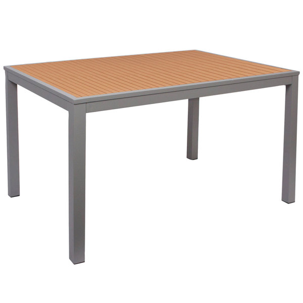 """BFM Seating PH4L3571TKSVT Longport 35"""" x 71"""" Silver Aluminum Bolt-Down Bar Height Table with Synthetic Teak Top"""