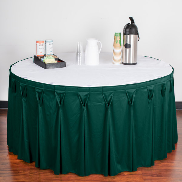 """Snap Drape WYN6V17629-TEAL Wyndham 17' 6"""" x 29"""" Teal Bow Tie Pleat Table Skirt with Velcro® Clips"""