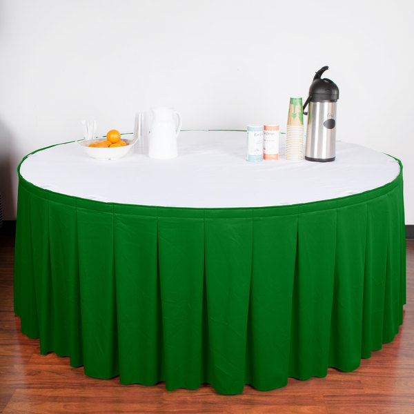"Snap Drape WYN5V21629-KG Wyndham 21' 6"" x 29"" Kelly Green Continuous Pleat Table Skirt with Velcro® Clips"