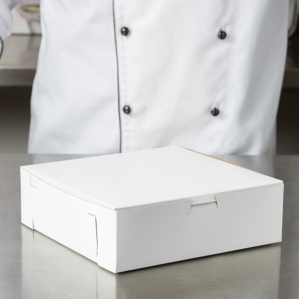 "8"" x 8"" x 2 1/2"" White Pie / Bakery Box - 250/Bundle Main Image 4"