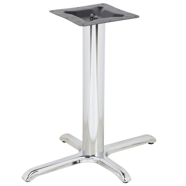 "BFM Seating STB-2430CHBP 30"" x 24"" Chrome Stamped Steel Indoor Standard Height Cross Table Base, 3"" Column"