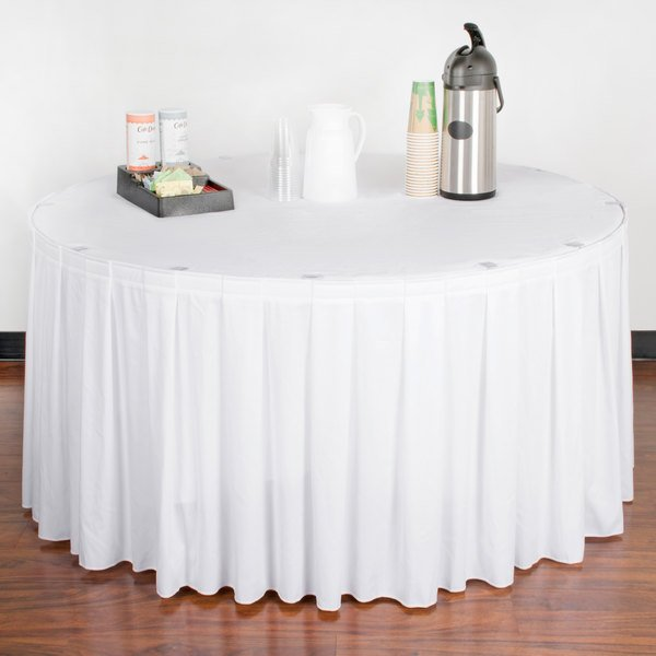 "Snap Drape WYN3V17629-WHT Wyndham 17' 6"" x 29"" White Box Pleat Table Skirt with Velcro® Clips"